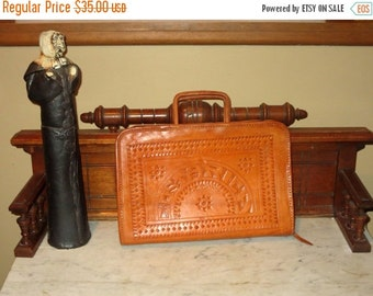 Football Days Sale Tooled Costa Rica Leather Briefcase With Retractable Handles