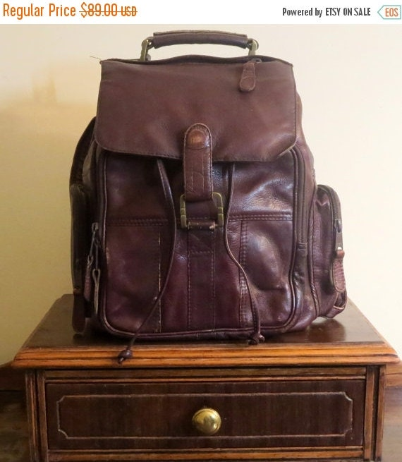 Football Days Sale Striking Mahogany Leather Backpack - Made In Colombia