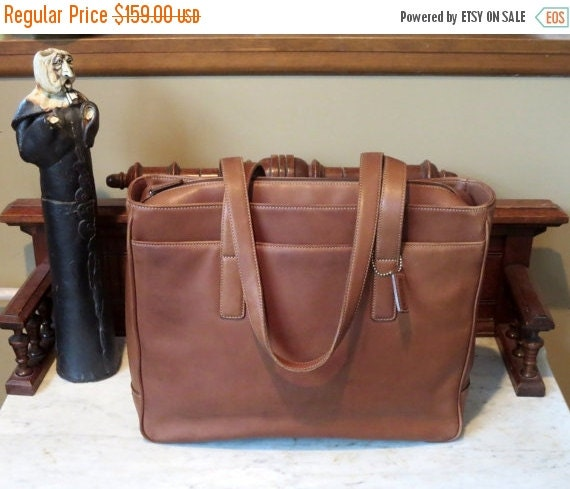 Football Days Sale Coach Hamptons Padded Laptop Business Tote In British Tan Leather Style No 5209- VGC