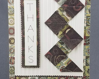 Handmade Brown and Green Thank You Card