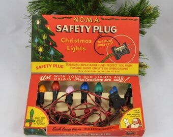 Vintage Noma Safety Plug String Christmas Lights, Working In Their Original Box