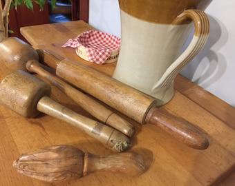 4 x Wooden Farmhouse Kitchen Utensils, vintage Rolling Pin. Vintage Potato Mashers, Vintage Lemon Squeezer, Kitchenalia, Baking Utensil