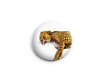 Leopard Pinback Button or Fridge Magnet, leopard buttons, animal badges, leopard pins