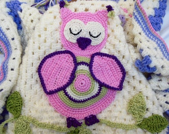 Owl Baby Blanket Crochet Baby Afghan Girls Woodland Nursery Forest Animal Pink, Violet and Green Owl Baby Shower Gift