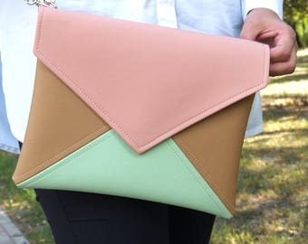 Mint Pink Clutch Bag Bridesmaid Clutch Purse Vegan Leather Clutch Wallet Evening Clutch Purse Wedding Clutch Vegan Bag Gift For Her Handbag
