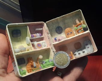 Dollhouse Miniature 1: 144 built inside a can. Tin stamped with picture of house, detailed furniture, 5 very beautiful rooms inside