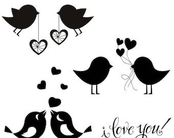 Love Birds SVG Love Clipart Lovebirds Wedding Cut File I love you Printable DXF