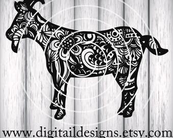 Zentangle Goat SVG - dxf - png - eps - ai - fcm - Cricut - Silhouette - Zentangle Billy Goat SVG - Doodle Goat SVG