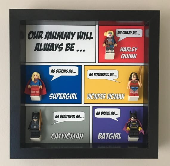 DC Comics Mum 5PC Mothers Day Minifigure Frame, Mum, Gift, Geek, Box, Personalised, Dad, Idea, Birthday, Anniversary, For Him, Lego, Comic