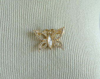 70s crystal butterfly pin, gold metal crystal rhinestone pin, 1970s insect bug vintage pin, vintage brooch, costume jewelry, jewellery