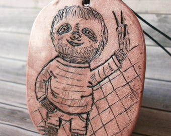 Sloth Necklace for Her, Cute Sloth, Sloth Artwork, Cartoon Smiling Sloth Jewelry, Gift for Girllfriend, Polymer Clay Charm, Christmas Gift