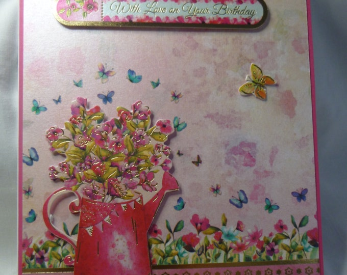 Butterflies and Flowers, Birthday Card, Greeting Card,  Gold and Pink, Female Any Age, Mother, Sister, Daughter, Niece
