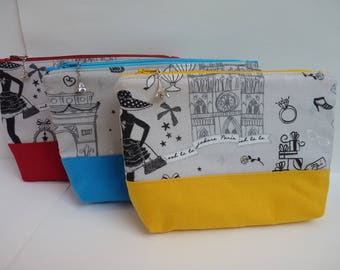 Zippered pouch with a Paris cotton fabric/blue yellow red bottom, Eiffel tower charm
