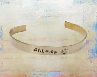 "Ahimsa Lotus Cuff Bracelet Hand Stamped Mantra Yoga Jewelry 1/4"" brass"
