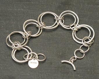 Bracelet large link silver 950