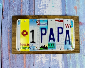 PAPA-Number 1 Papa- Grandpa- Father's Day- Man Cave Sign- License Plate Sign- Car Lover- #1 Grandpa- #1 Papa-