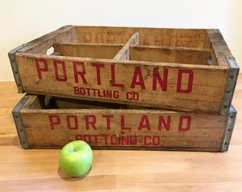 Vintage Portland Bottling Company Soda Crate | Wooden Soda Crate Four Grid | Pacific Northwest Memorabilia | Portland Oregon | Two Available