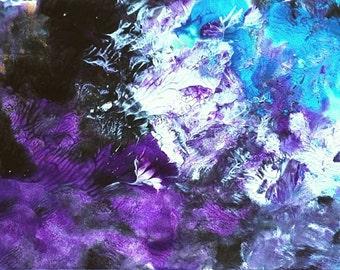 Original Abstract Art acrylic painting purple blue black Heather by Caerys Walsh