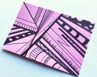 ACEO original ATC art card minimalist drawing black and pink abstract artwork - Thrive by Caerys Walsh