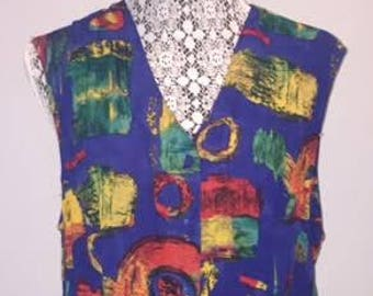 Vintage Geometric Vest / size large / by C.M. Shapes