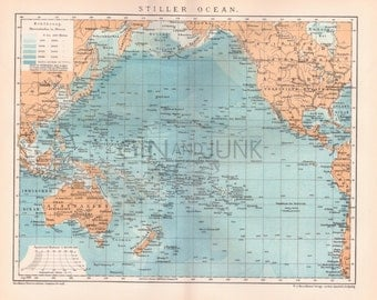 OCEANOGRAPHY MAP - 1800s Map depicting the 'Still' Pacific Ocean - Australia, America