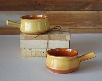Vintage onion soup bowls - Set of 2 pottery bowls - Canada