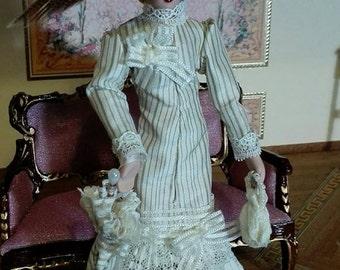 Porcelain Lady with Removable Suit, 1 12 scale. Dollshouse miniature.