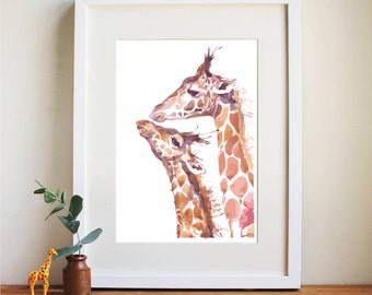 Watercolour Giraffe - Mummy and baby - Nursery Print