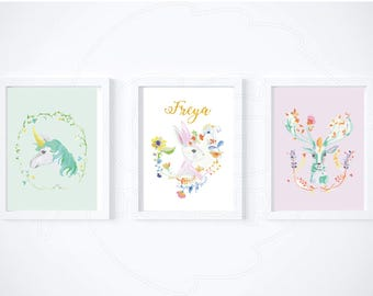Spring Animals - Set of three prints -  Unicorn, Deer and Rabbit