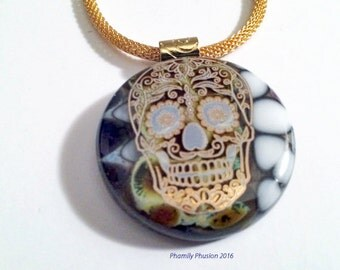 Fused Glass Pendant - Pebble Technique, Amber and White Glass with Gold Sugar Skull/ Vibrant, Fabulous & Dramatic Colors/ Floating Pebbles