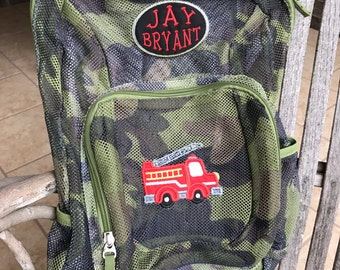 Monogrammed Backpack | Mesh Backpack | Back to School | Firetruck  Backpack | Boys Backpack | Mesh Backpack | Embroidered Mesh Backpack
