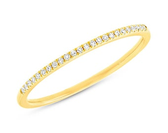 Ladys .06ct 14K Yellow Gold Stackable Diamond Band 1.10mm Very Thin Wedding Ring