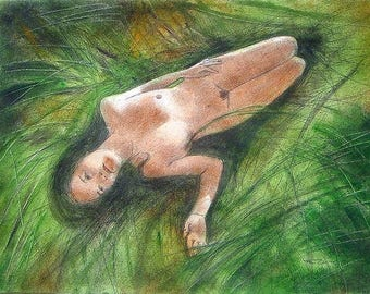 """Original painting : Watercolored graphite drawing  of a sexy lady. """"the rest of the Woman-warrior """", on   50x50cm paper"""