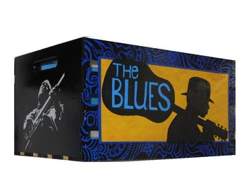 LP Record Crate Hand Made Hand Painted by Bill Schuler Art 1 of 1, signed by the artist