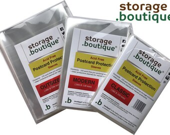 storage.boutique 100 Postcard Protector Sleeves Wallets - Classic, Modern or Outsize sizes