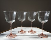 Stunning Set Of 4 Pink Luminarc Wine Glasses With Vertical Line Pattern.