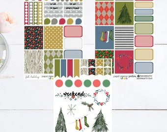 Folk Holiday Weekly Planner Sticker Kit Erin Condren Inkwell Press Happy Planner Plum Paper Set Christmas Winter Vintage Classic tree