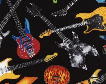 Guitar fabric, electric guitar fabric, music fabric, musical instruments fabric, by Timeless Treasures, C4824
