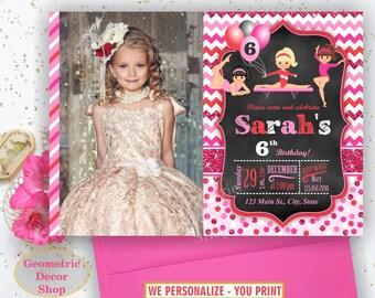 Gymnastic Invitation Gymnastics Birthday Invitation Gymnastic Invite Party Girl Pink Red Chalkboard Glitter Sparkle Photo Photograph BDG21