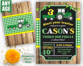 Tractor Birthday Invite, Tractor Invitation, Tractor Birthday Invitations, Yellow Woodland Green Plaid Boy Girl Photo Photograph Farm BDT19
