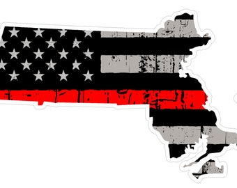 Massachusetts State (C22) Thin Red Line Vinyl Decal Sticker Car/Truck Laptop/Netbook Window