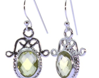 Lemon Quartz Earrings, 925 Sterling Silver, Unique only 1 piece available! color yellow, weight 3.2g, #37650