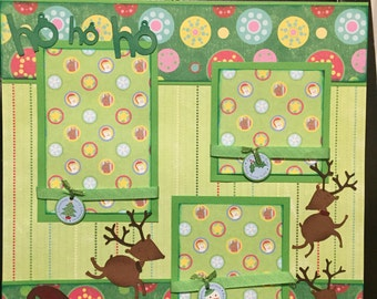 CHRISTMAS REINDEER Premade 12x12 scrapbook page
