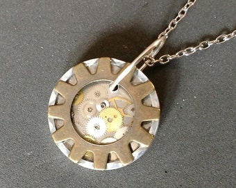 Steampunk themed gear framed necklace pendant
