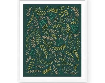 Wild Meadow - Daylight Art Print | 8x10 | Green, Ferns, Plants, Floral, Organic, Pattern, Vibrant, Bright, Flowers, Greenery, Field, Garden