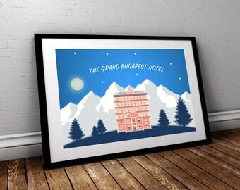 Grand Budapest Hotel - Custom Minimal Modern Art Movie Poster Print Abstract