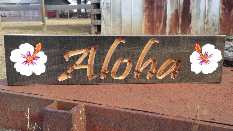 Aloha Wood Sign Aloha Sign Hawaii Wood by greencottagedesign