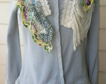 Vintage Upcycled Shabby Chic Sweater