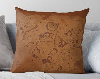 Zelda Breath of the Wild Cushion: Large Hyrule Map Throw Pillow