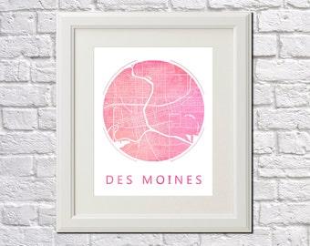 Des Moines Street Map Print Neighborhood Map of Des Moines City Street Map Des Moines, Iowa Poster Wall Art 7007R